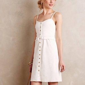 Anthropologie loup white denim ruffle dress size S